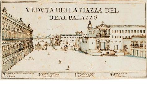 Fig. 1. Cassiano de Silva, Largo di palazzo e il convento di San Francesco di Paola  , 1692, Biblioteca Nazionale di Napoli