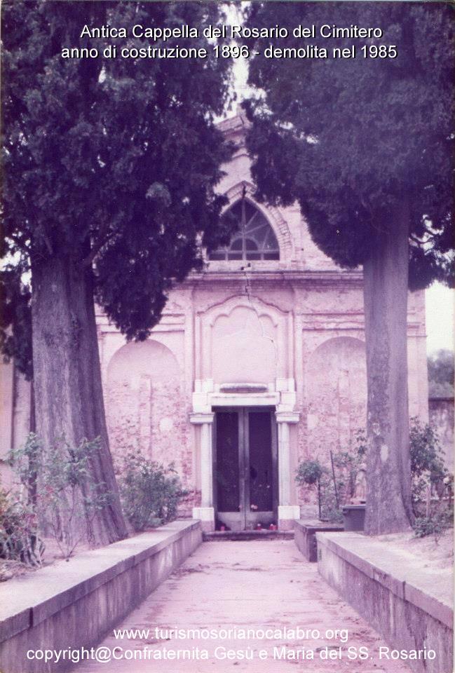 Breve Cronostoria sulla Cappella del Rosario del 1896 – Cimitero di Soriano
